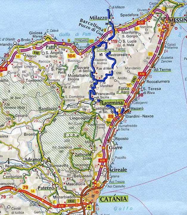 Taormina Cartina Sicilia.Taormina E Le Gole Dell Alcantara