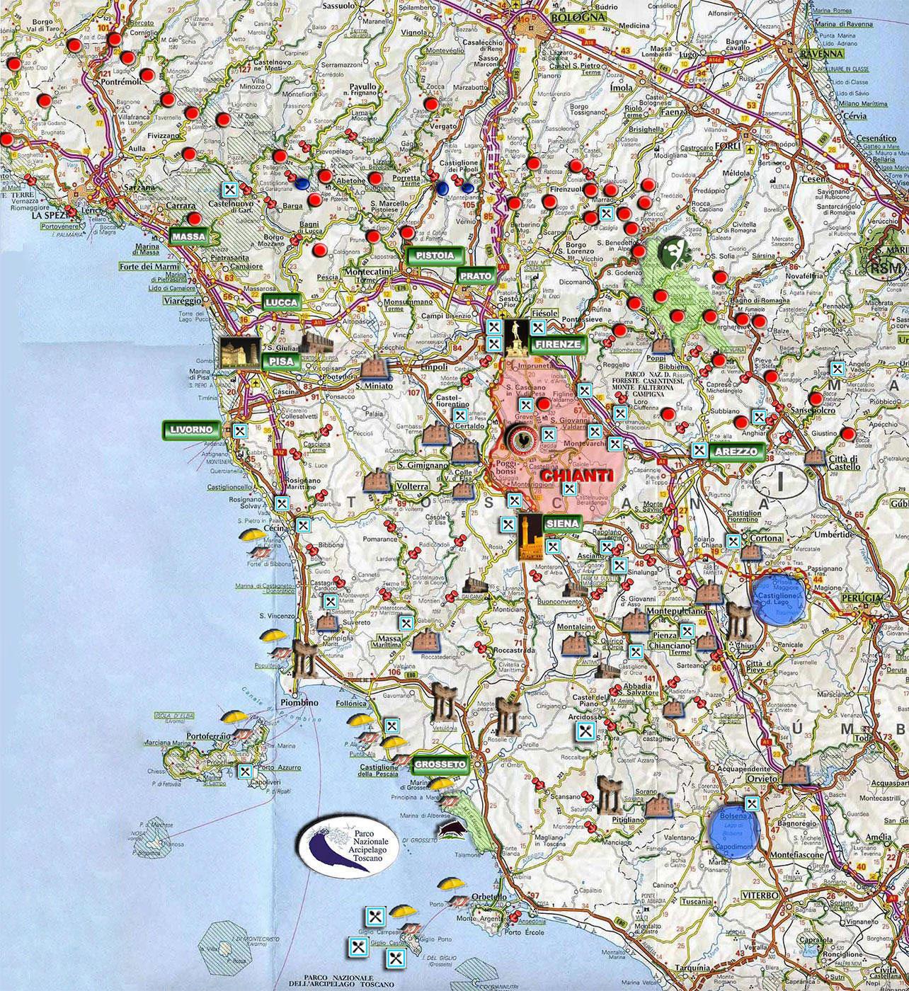 Cartina Toscana Dettagliata.La Cartina Interattiva Toscana Dettagliata
