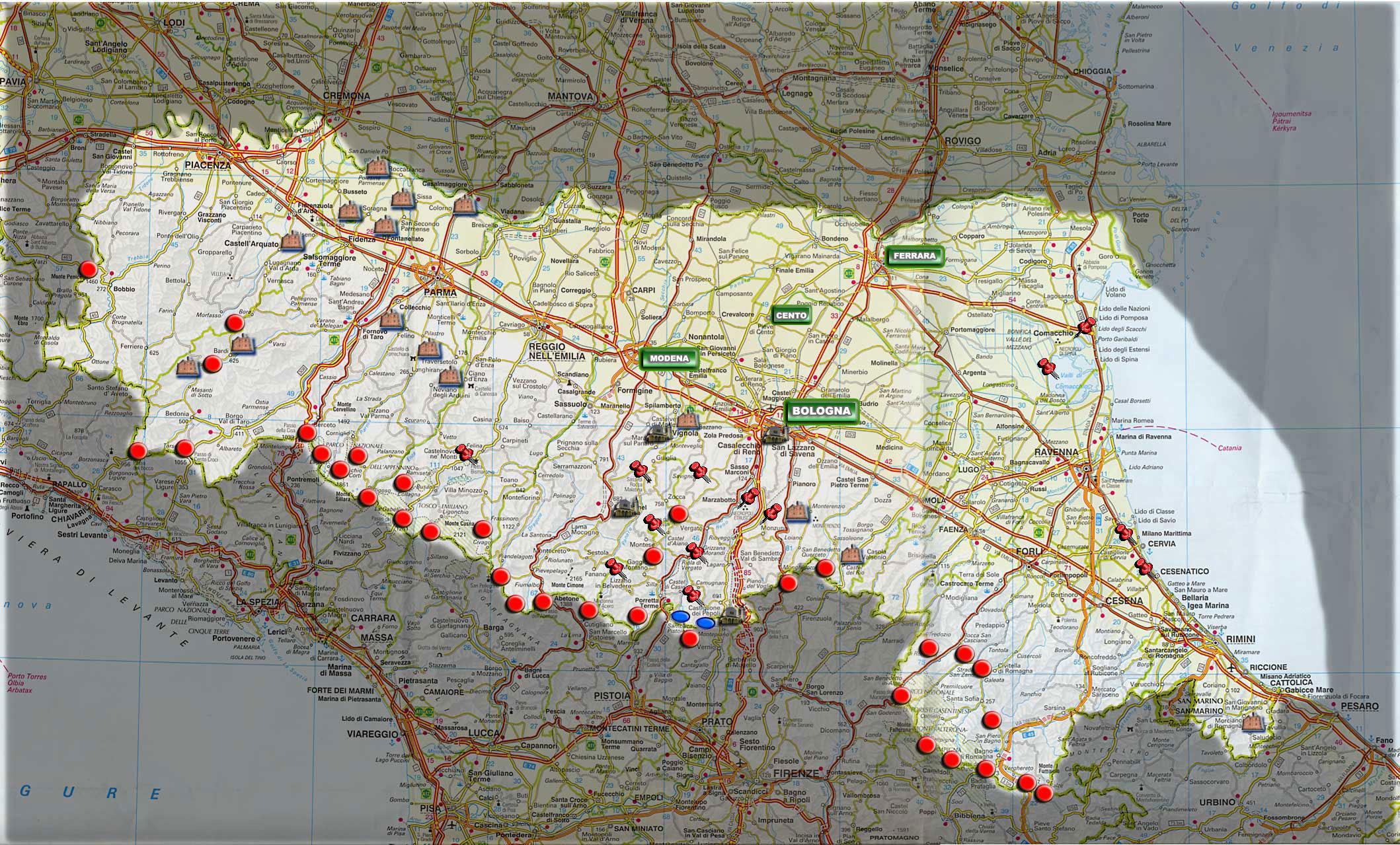 Cartina Della Emilia Romagna.La Mappa Interattiva Dell Emilia Romagna