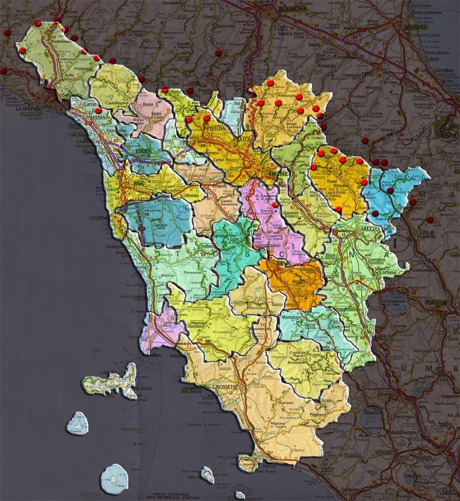 Cartina Interattiva Toscana.La Cartina Interattiva Toscana Per Aree Geografiche